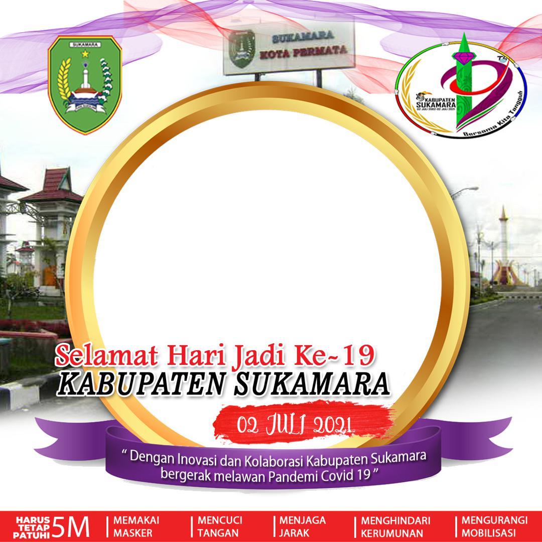 Background Frame Bingkai Foto Twibbon Hari Jadi ke-19 Kabupaten Sukamara Tahun 2021