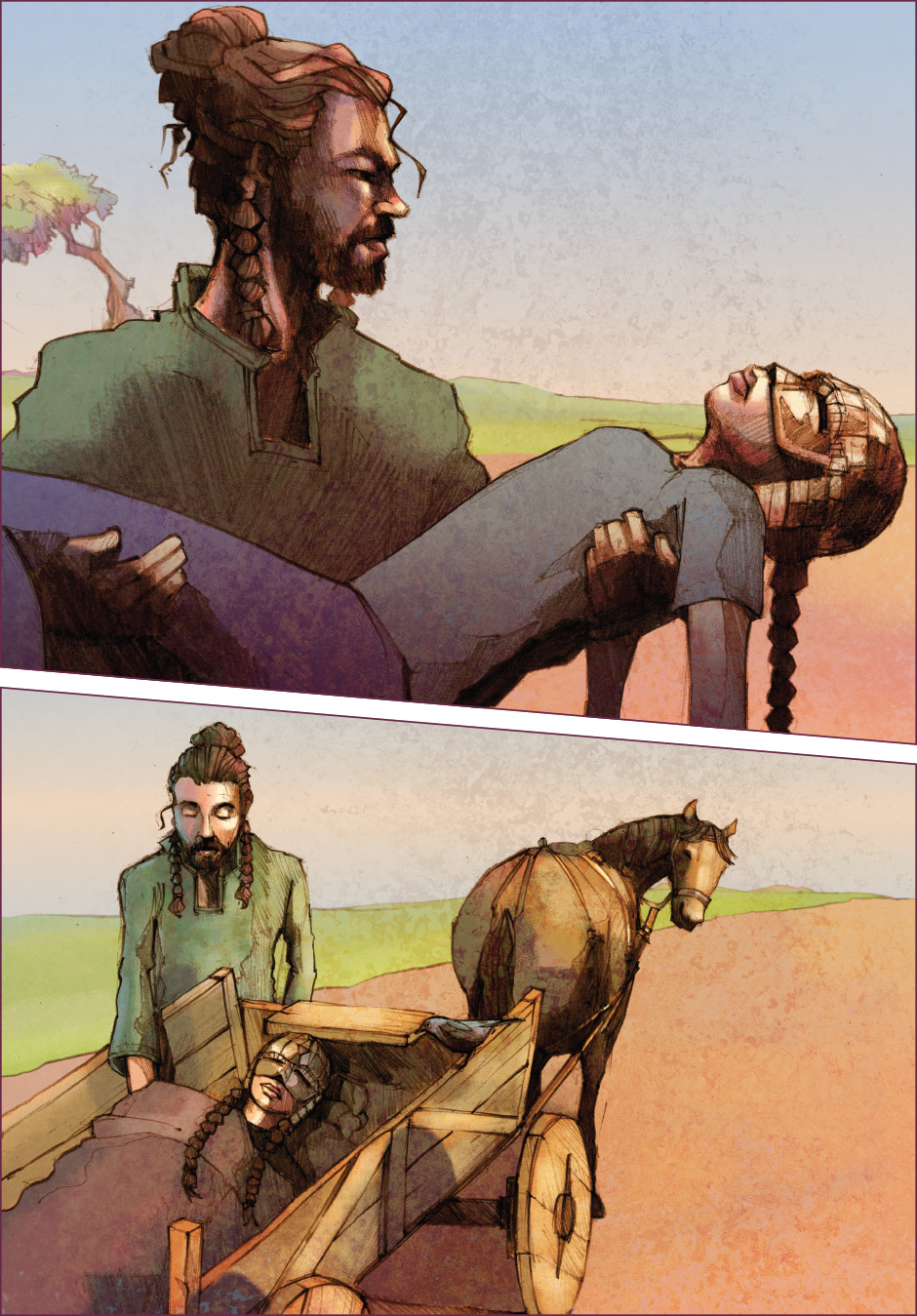 Lian Webcomic - Lian carried to the horse & cart by Wilbur