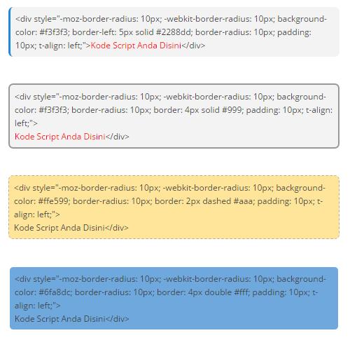 Contoh Box Script yang bisa diisi code script