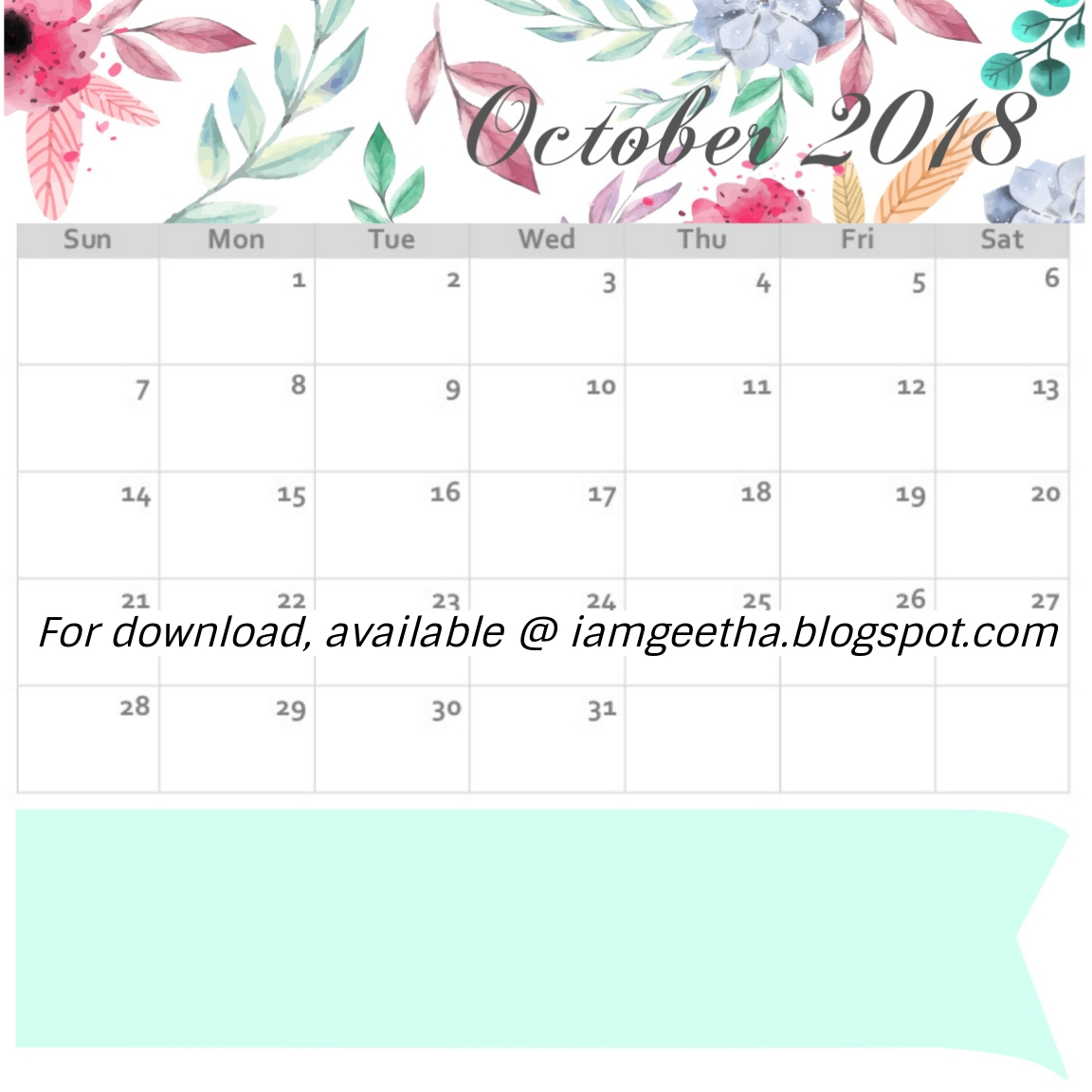 october 2018 calendar in feathers and arrows