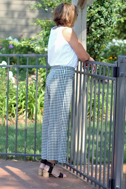 Mood Fabrics' gingham cotton stretch twill made into McCall's 7445 - back view
