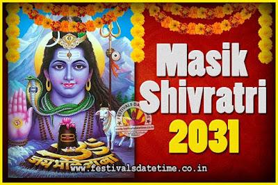 2031 Masik Shivaratri Pooja Vrat Date & Time, 2031 Masik Shivaratri Calendar