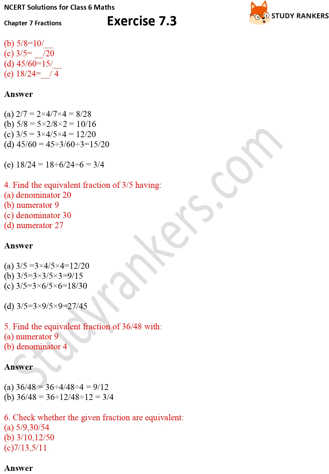 NCERT Solutions for Class 6 Maths Chapter 7 Fractions Exercise 7.3 Part 2