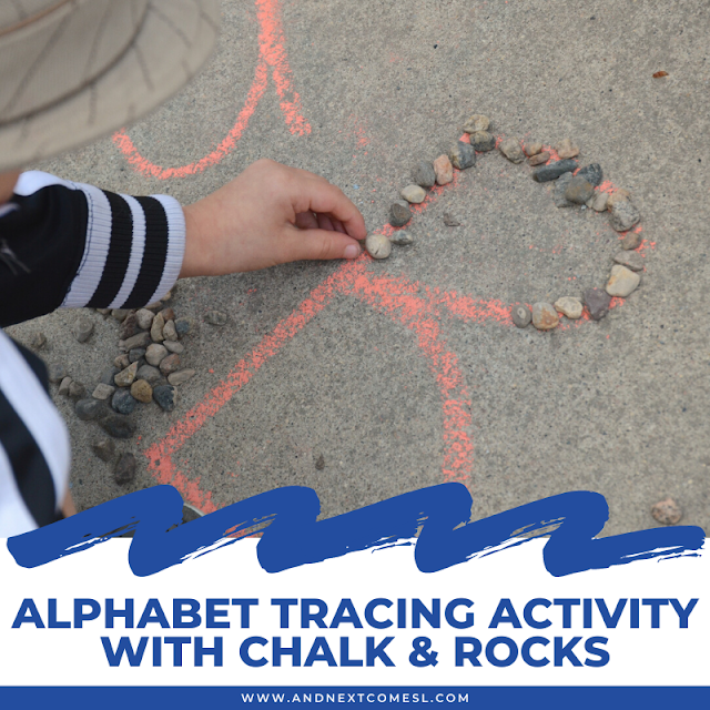 Alphabet tracing activity with chalk and rocks