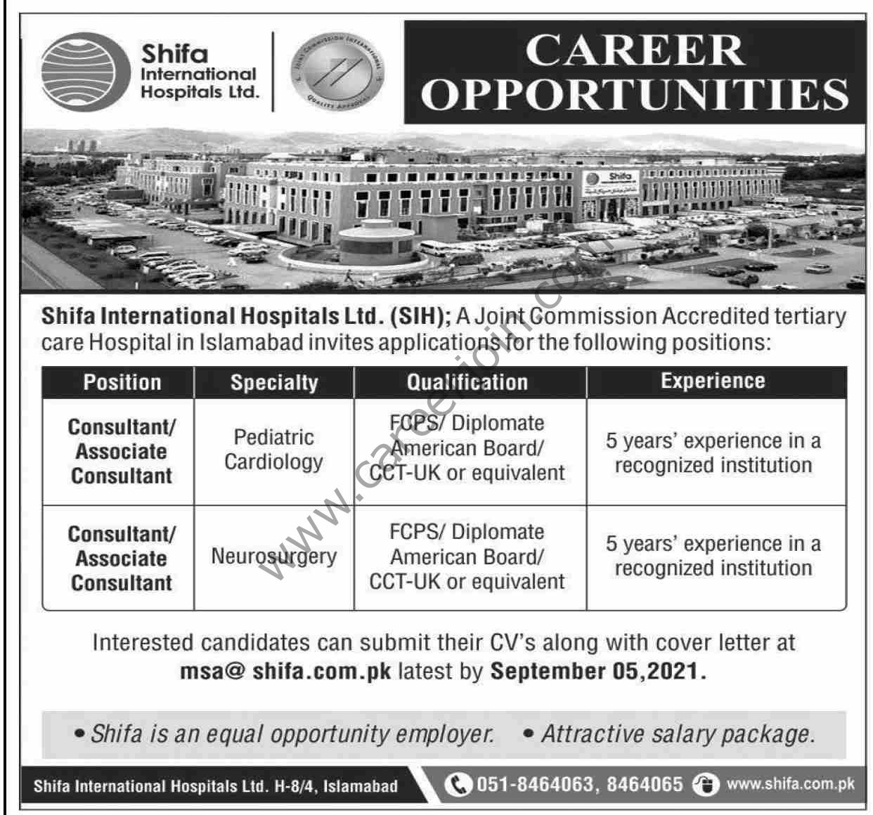 Shifa International Hospitals Ltd Jobs August 2021