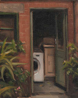 Oil painting of an open door revealing a washing machine and a sink.