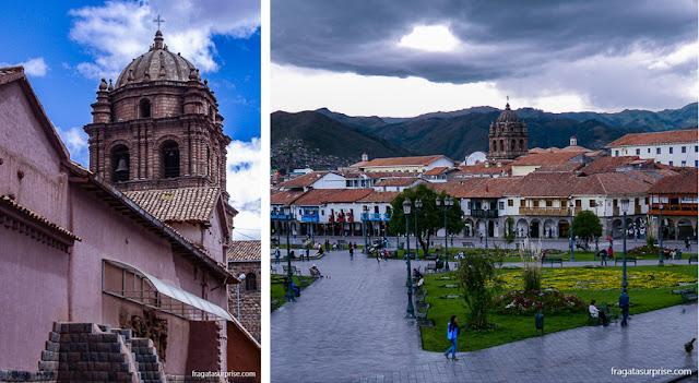 O campanário da Igreja de São Domingos e a Praça de Armas de Cusco
