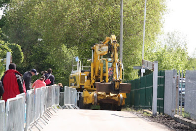 The JCB arriving to work on the railway on the same day as the 2019 Open Day