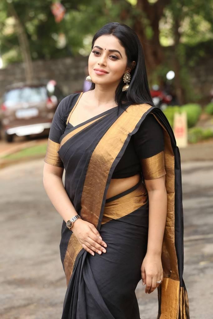 Poorna At Avanthika Movie Platinum Disc Function Saree Stills