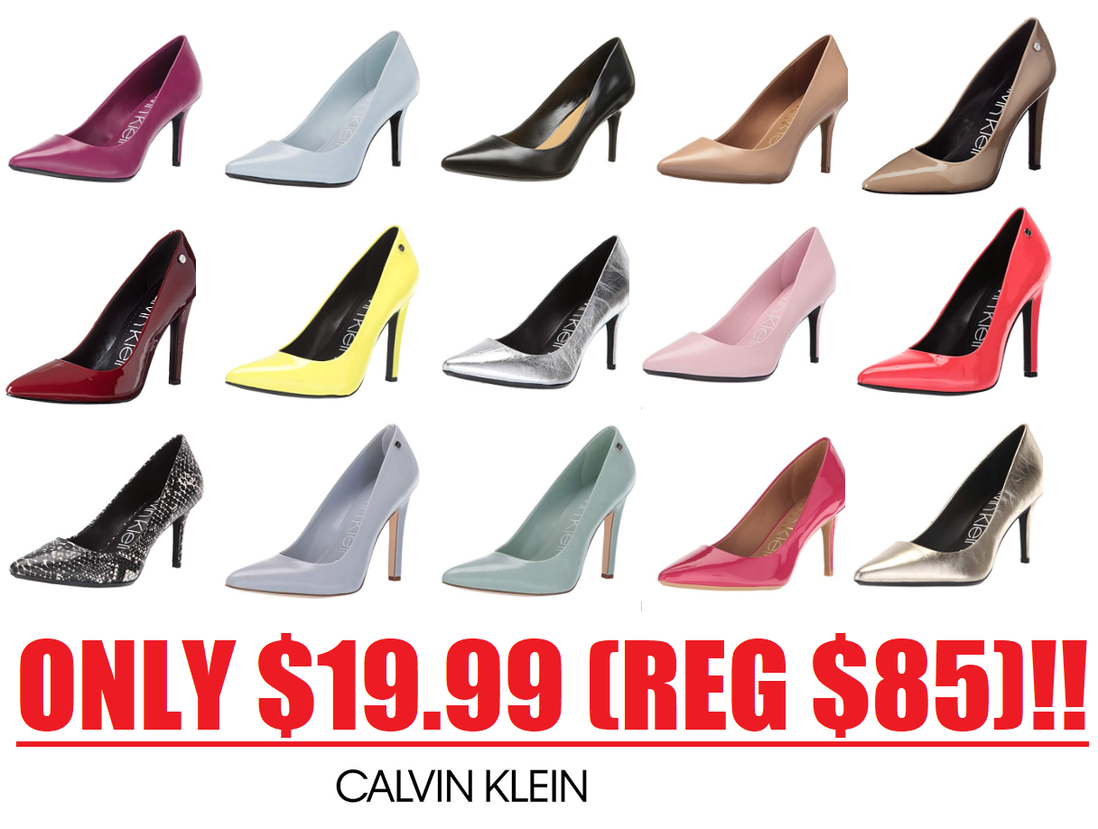 graphic relating to Calvin Klein Printable Coupon named Calvin Klein Womens Sneakers Sale: Gayle Pump or Brady Pump