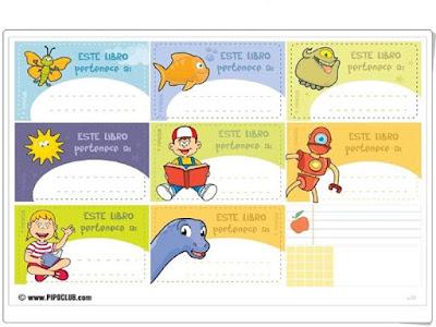 etiquetas,libros de texto,español,inglés,imprimir pdf