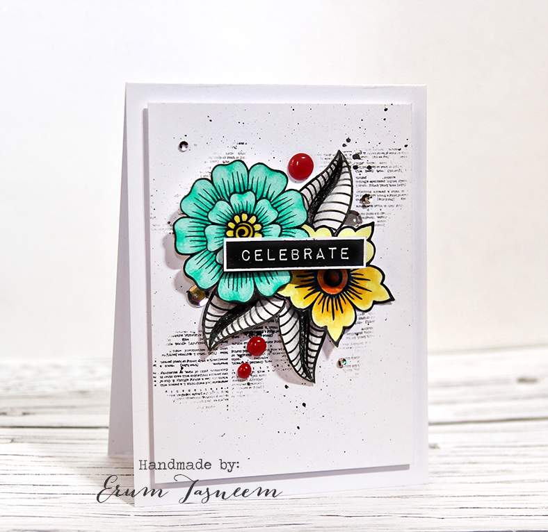 Altenew Inspiration Challenge, using Hennah Elements and Label Love. Colored using Faber Castell Classic pencils.