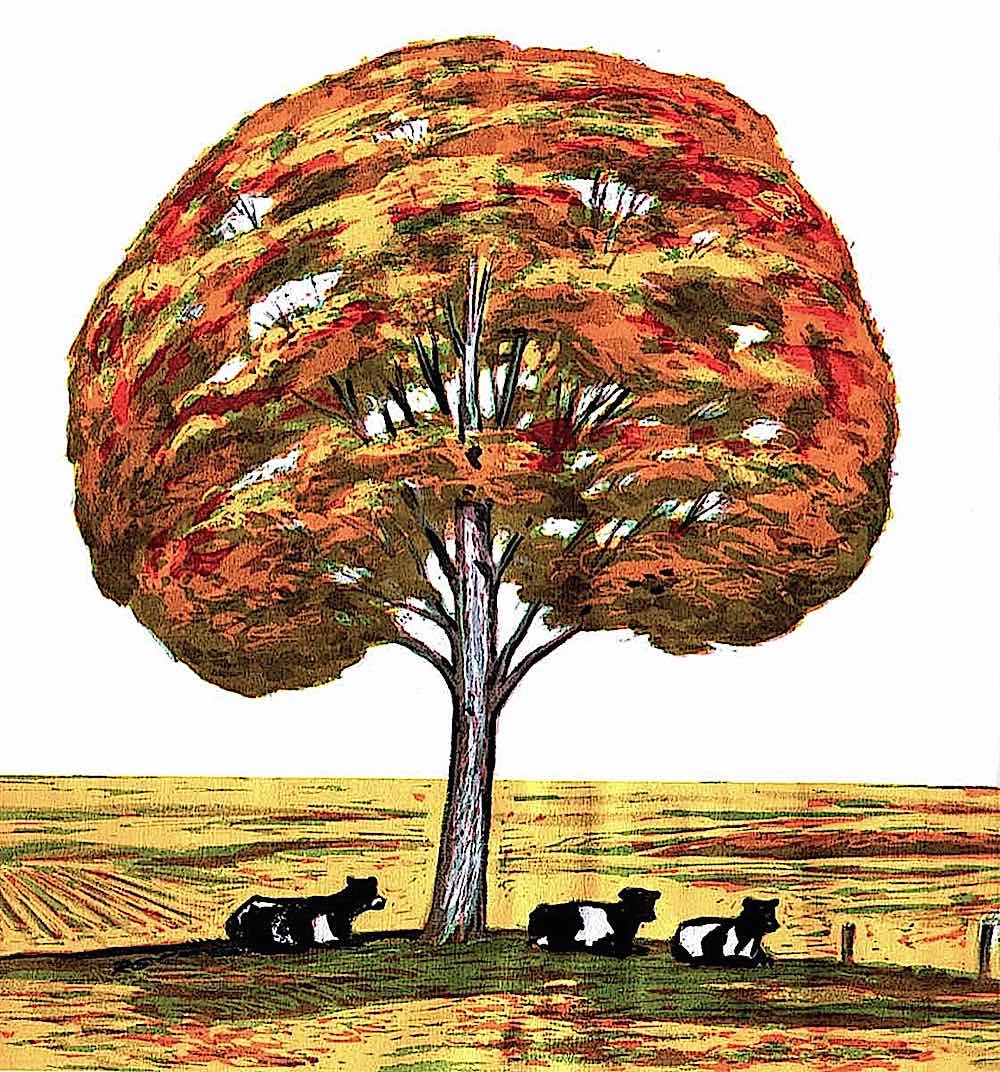 a Richard Gates book illustration, cows under an autumn tree