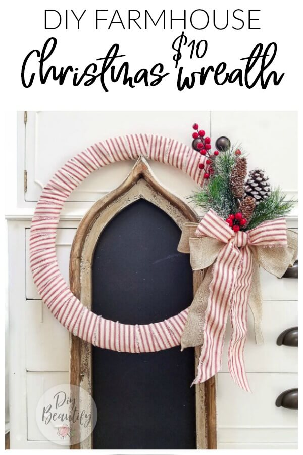 DIY farmhouse Christmas wreath with red ticking fabric