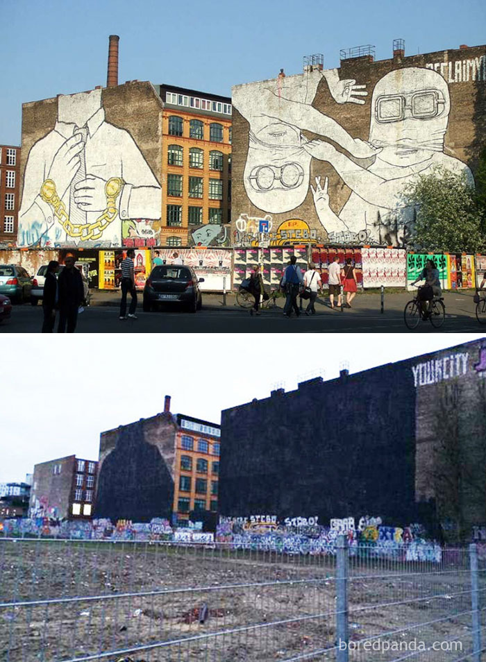 10+ Incredible Before & After Street Art Transformations That'll Make You Say Wow - Blu's Mural In Cuvrystraße, Berlin
