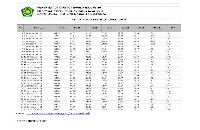 Jadwal Imsakiyah HALTIM 2020 dari KEMENAG