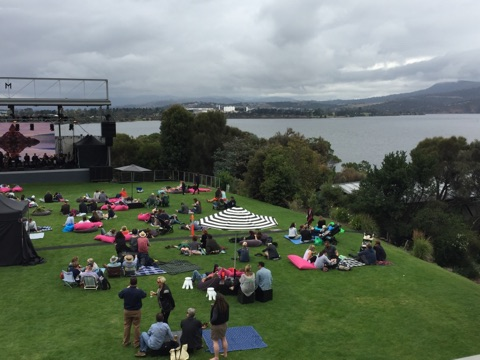 People gathered for a concert outside MONA, Hobart