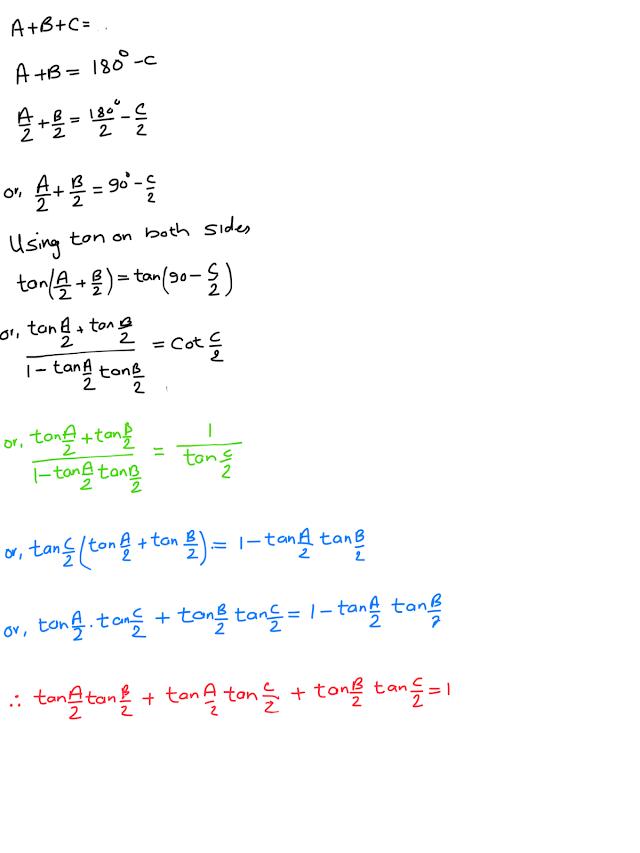 Prove that tan(A/2)tan(B/2) + tan(B/2)tan(C/2) + tan(A/2)tan(c/2) =1