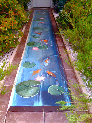Faux painted koi pond by Denise Cerro
