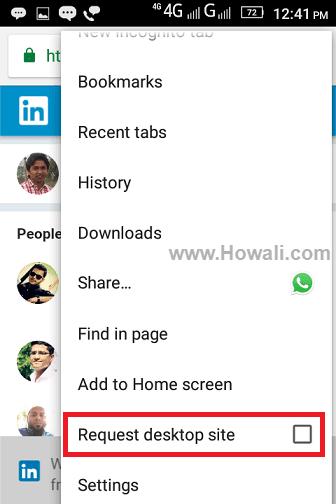 Linkedin Desktop Site on Android