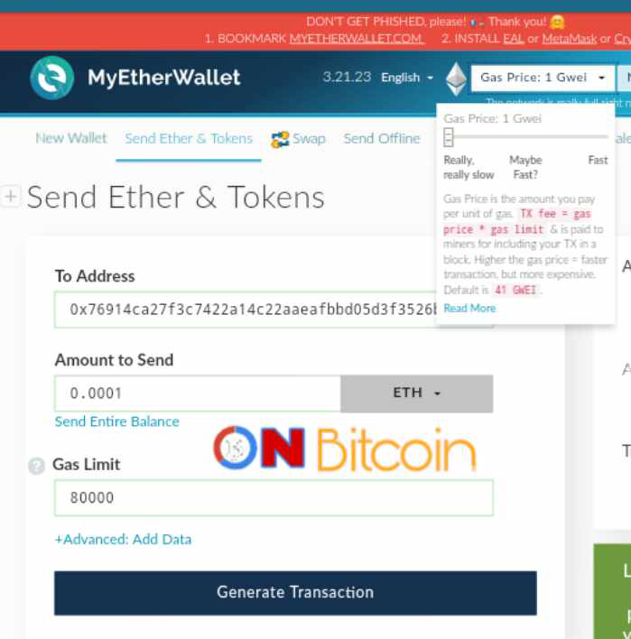 my ether wallet how to change gwei