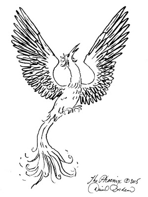 drawing of a phoenix ascending (c) 2015 by David Borden