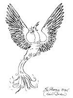 Phoenix rising from artist and phoenix, David Borden