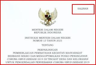 18 Instruksi Mendagri Nomor 13 Tahun 2021 Tentang Perpanjangan PPKM Mikro dan Posko Covid-19