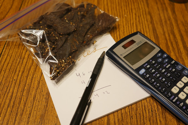 bag of jerky next to calculator and notepad