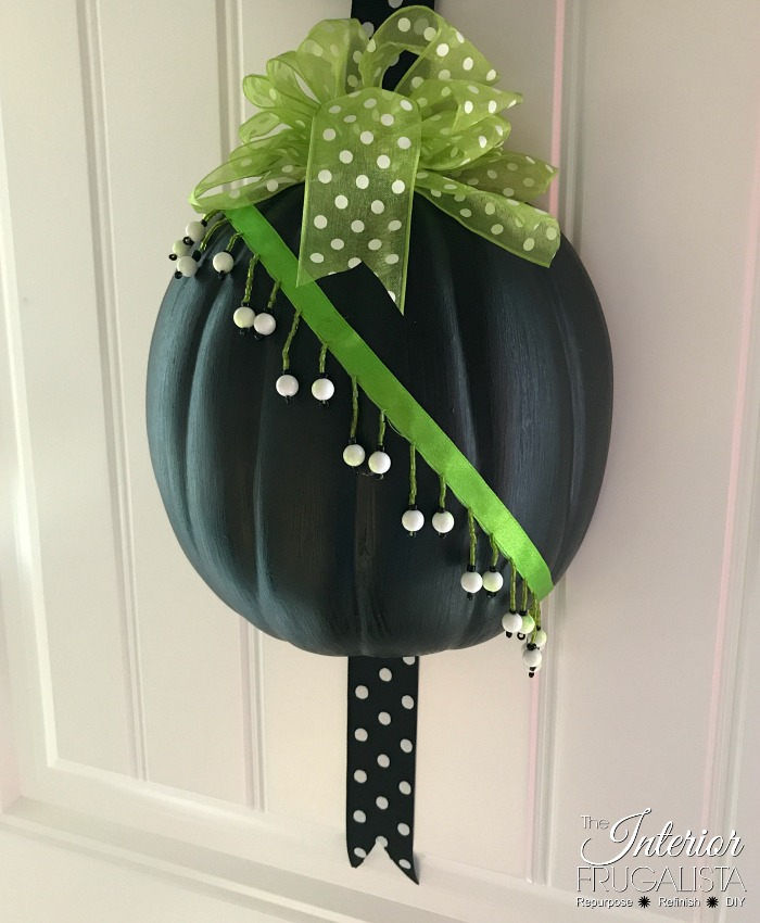 DIY Halloween Pumpkin Door Hanger With Beaded Ribbon