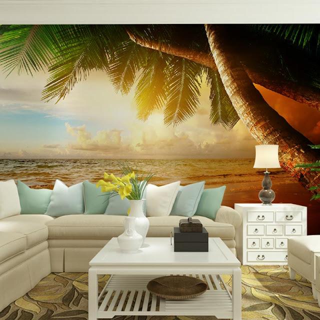 tapet natur landskap fototapet palm hav tropisk tapet vardagsrum
