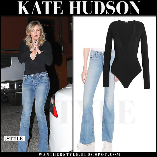 Kate Hudson in black bodysuit alix and flared jeans what she wore april 2017