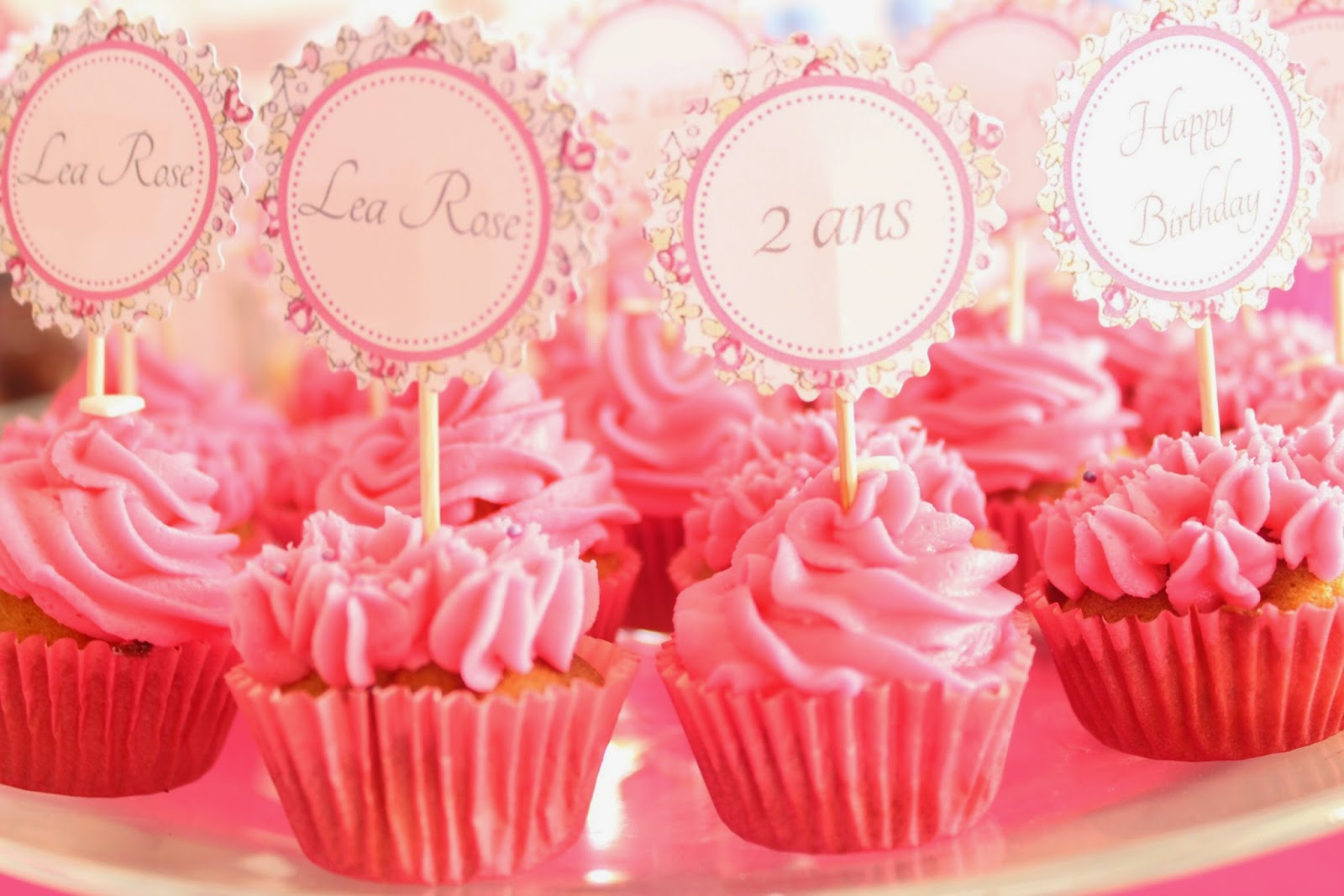 cupcakes roses et décoration liberty