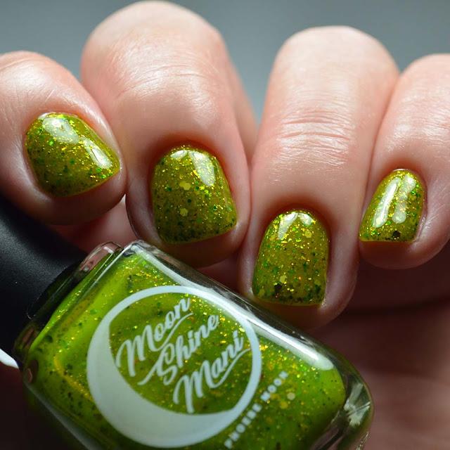 green glitter nail polish low light swatch