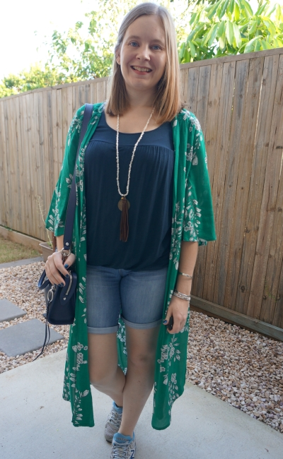 green floral duster kimono with navy breastfeeding tank and bermuda denim shorts outfit micro bedford bag | awayfromblue