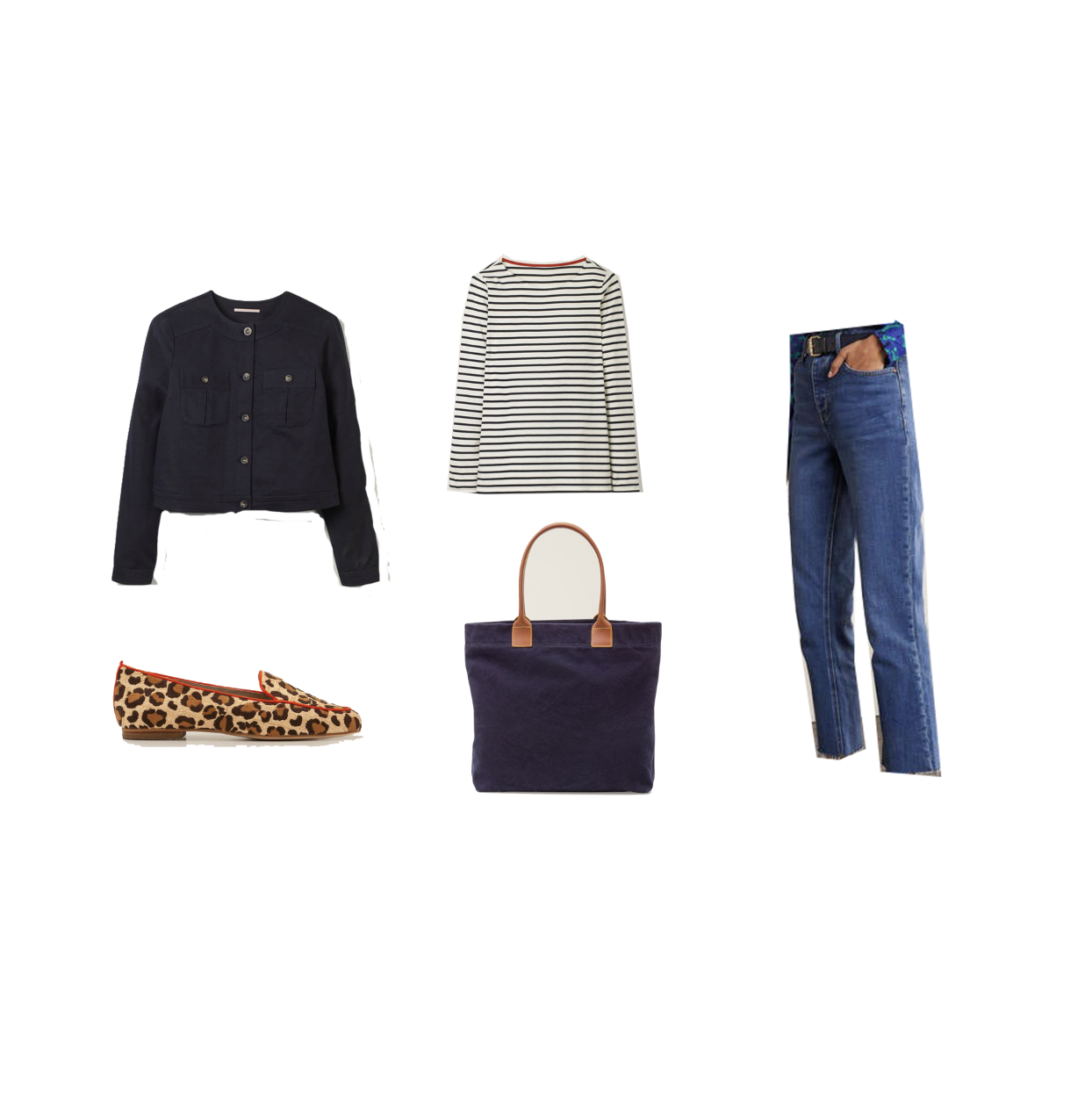 my midlife fashion, boden long sleeve cotton breton top, boden cropped jeans, boden leopard print loafers, boden tote, boden cropped boucle jacket