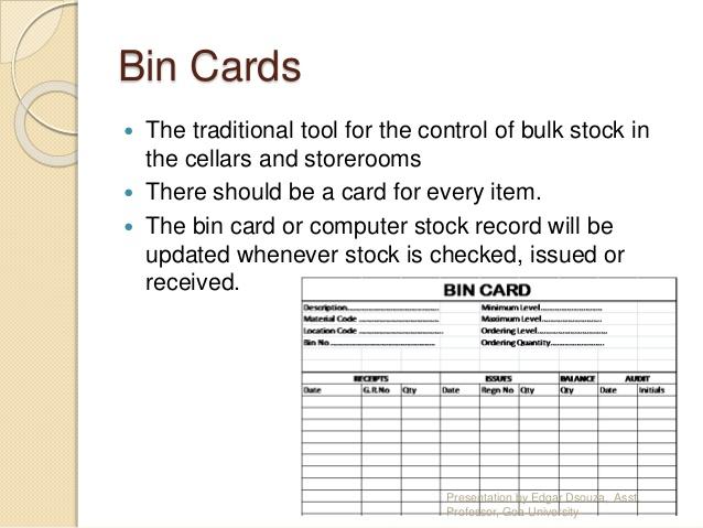 BIN - what is it What is a BIN card