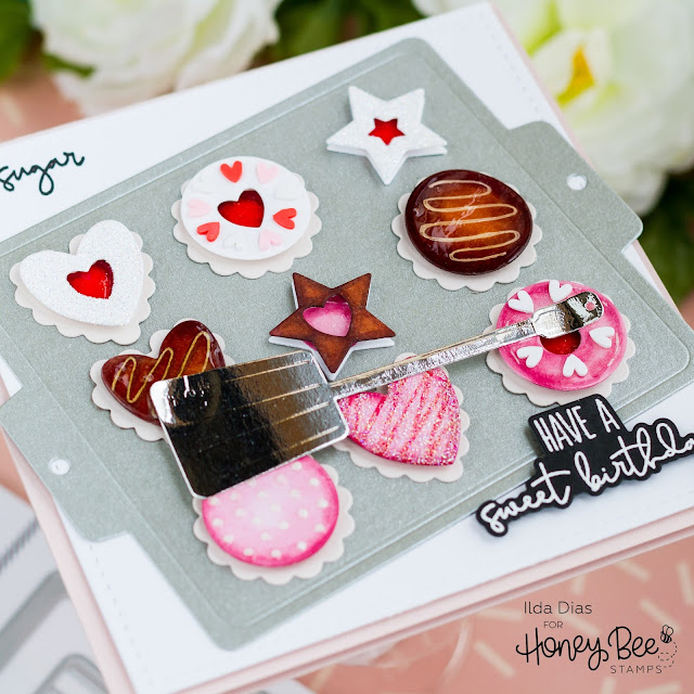 Sweet Birthday, Cookie Sheet Card,Honey Bee Stamps, Let's Celebrate, Cookie Sheet Dies, Baked With Love,Card Making, Stamping, Die Cutting, handmade card, ilovedoingallthingscrafty, Stamps, how to,