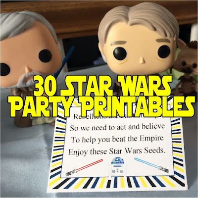 Don't panic! Throw a Star Wars party tonight with these awesome downloadable, printable Star Wars party decorations, party treats, and party favors.  You'll be the star of the galaxy with very little time and effort.
