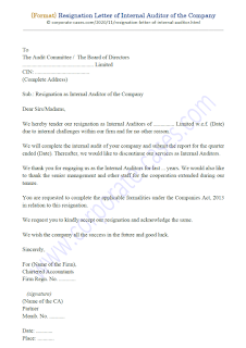 resignation letter format of internal auditor