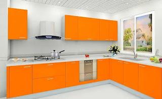 مطبخ عصري جميل جدا برتقالي