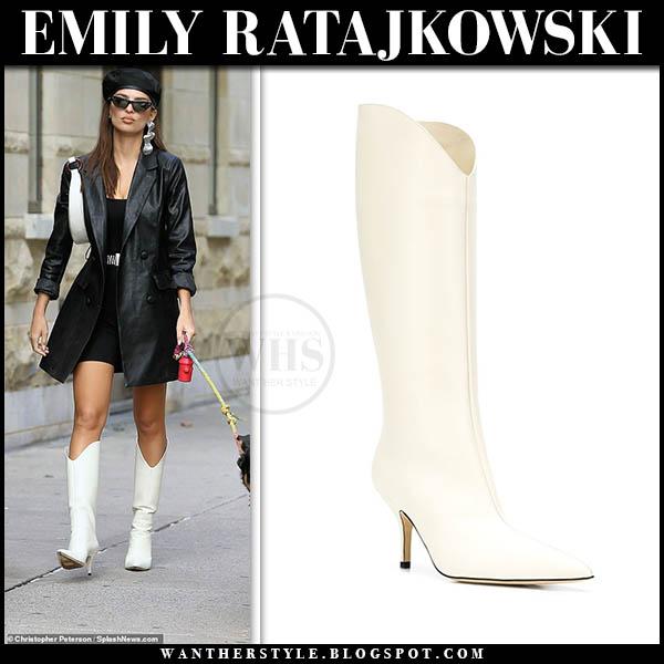 emily ratajkowski in white leather knee