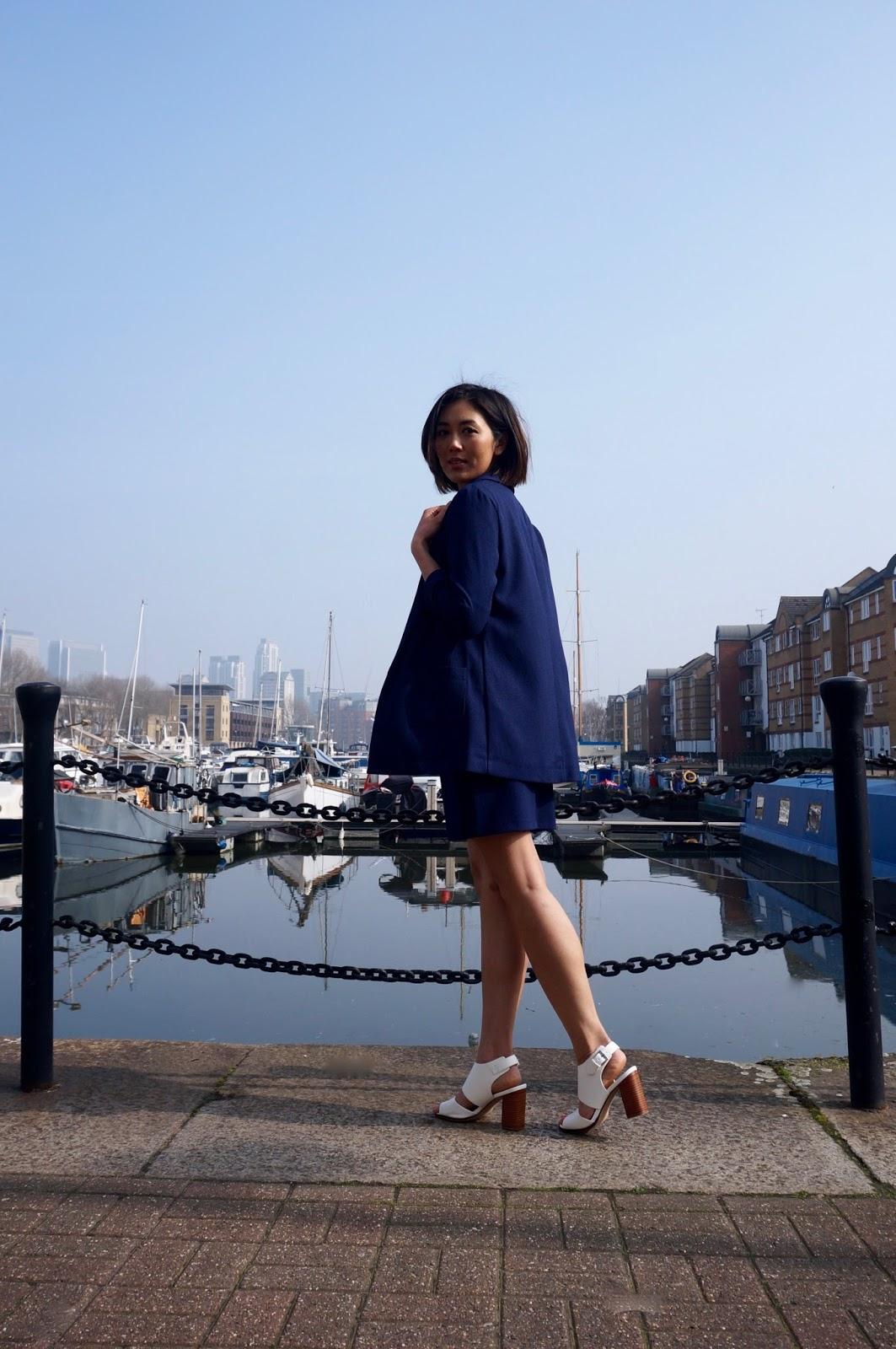 Riviera Chic navy blazer and skirt
