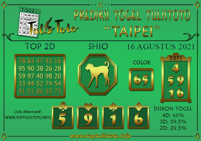 Prediksi Togel TAIPEI TULISTOTO 16 AGUSTUS 2021