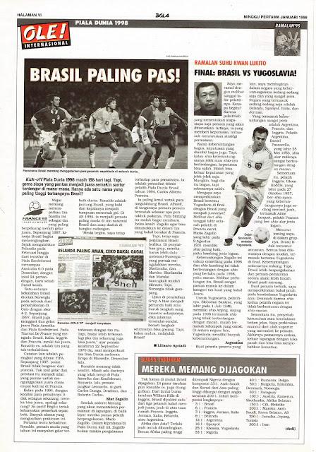 PIALA DUNIA 1998 BRASIL PALING PAS