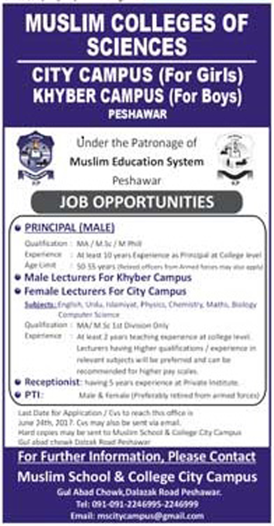 Principle & Lecturer Jobs In Muslim Colleges of Science Peshawar 15 June 2017