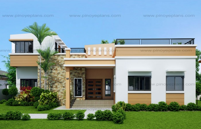 10 bungalow single story modern house with floor plans for One story house design in the philippines