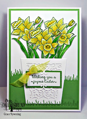 Our Daily Bread Designs Stamp Set: Daffodils, Custom Dies: Daffodil, Glorious Gable Box,Rectangles, Double Stitched Rectangles, Grass Hill, Grass Lawn