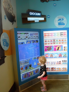 this fridge was a giant touchscreen that gave info on how specific treats are made!