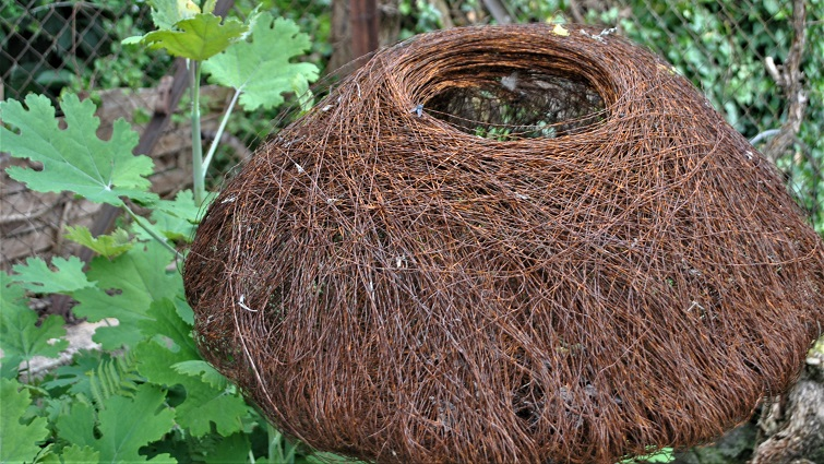 Nest aus Draht - Gartendeko